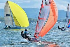 湖麦夸里,澳大利亚 2013年4月17日 联合的高中航行冠军 免版税库存图片