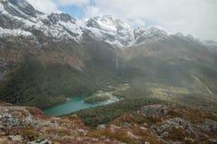 湖麦肯齐 新的routeburn跟踪西兰 免版税库存照片