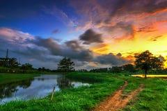 湖,日落,日出,风景,自然, clauds,天空, 免版税库存图片