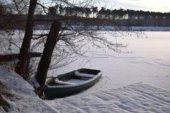 冻结湖 瓷报道了冰湖横向lushan冬天 免版税库存照片