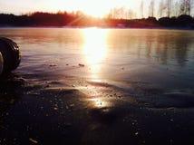 冻结湖 图库摄影