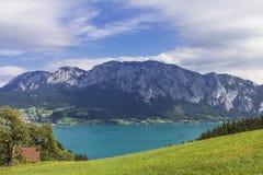 湖Attersee在奥地利 图库摄影