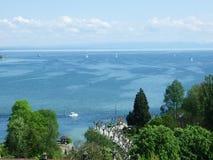 湖Bodensee看法从康斯坦茨的  免版税库存照片