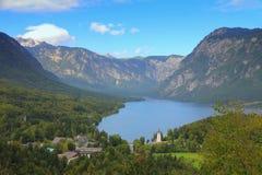 湖Bohinij,斯洛文尼亚,欧洲 免版税库存照片