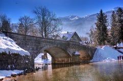 湖Bohinj和Sava Bohinjka河,斯洛文尼亚-冬天图片 图库摄影