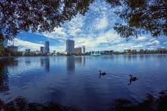湖Eola奥兰多佛罗里达 免版税图库摄影