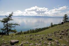 湖Hovsgol的陡峭的树木繁茂的岸 库存图片