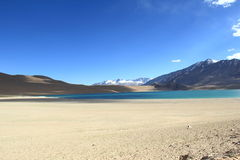 湖Kyagar Tso,拉达克,印度 免版税库存图片