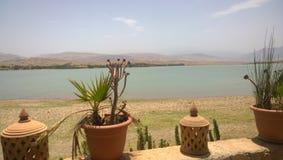 湖Lalla Takerkoust,马拉喀什-摩洛哥 库存照片