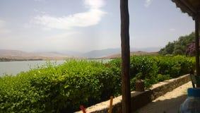 湖Lalla Takerkoust,马拉喀什-摩洛哥 库存图片