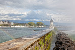 湖Leman在日内瓦 库存照片