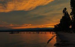 湖Leman日落 洛桑瑞士 免版税库存照片