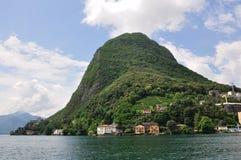 湖lugano山salvatore ・圣・瑞士 免版税库存照片