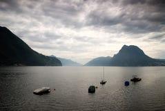 湖lugano瑞士 库存图片