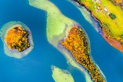 湖Luokesai海岛,空中 库存照片