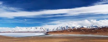湖Manasarovar和纳木那尼峰峰顶,西藏全景  库存图片