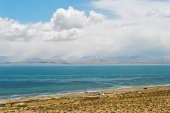 湖manasarovar西藏 库存照片