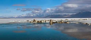 湖Manasarovar,西藏全景  免版税库存图片