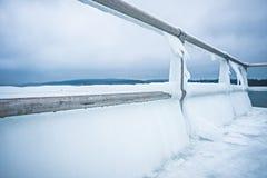 冻湖michihgan海岸线和码头 图库摄影