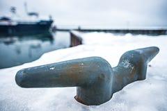 冻湖michihgan海岸线和码头 库存照片