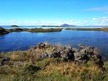湖Myvatn,北冰岛 免版税库存照片
