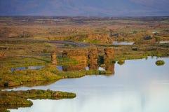 湖Myvatn, Icel看法有各种各样的火山岩形成的 图库摄影