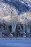 湖nationa公园plitvice雪冬天 免版税库存图片