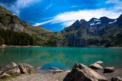 湖Oeschinen在瑞士 免版税库存照片