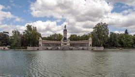 湖Parque del retiro在马德里 库存照片