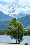 湖Passy和勃朗峰山断层块夏天视图。 免版税库存图片