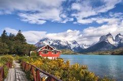 湖Pehoe,托里斯台尔潘恩国家公园,巴塔哥尼亚,智利 图库摄影