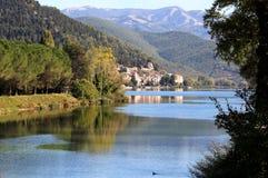 湖Piediluco,翁布里亚,意大利 免版税图库摄影