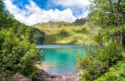 湖Ritom,瑞士的Piora 库存照片