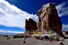湖st石头在西藏 图库摄影