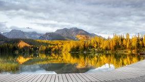 湖Strbske普莱索,高Tatras,斯洛伐克 库存照片