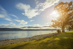 湖te anau重要旅行的destinatio美好的sceninc  免版税库存图片
