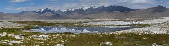 湖Tso Kar高山的全景照片:在湖前面,水表面上在镜子 库存图片
