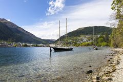 湖Wakatipu, Queenstown,新西兰 库存图片