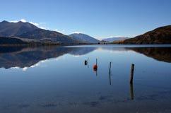 湖Wanaka秋天反射, Otago新西兰 免版税库存图片