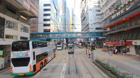 湾仔,香港电车视图  库存图片