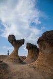 湾里区、新北市、台湾Yehliu Geopark和摆尾蘑菇型岩石奇怪的岩石风景 免版税库存图片