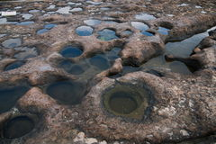 湾里区、新北市、台湾Yehliu Geopark和溶解盘 库存图片