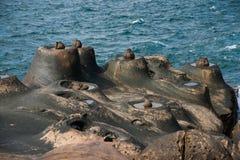 湾里区、新北市、台湾Yehliu Geopark和鱼石头和烛台石奇怪的岩石风景 免版税库存图片
