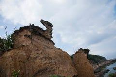 湾里区、新北市、台湾Yehliu Geopark和Ma陵鸟石头 图库摄影