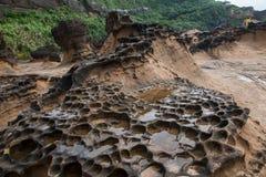 湾里区,新北市,台湾Yehliu Geopark奇怪的岩石风景 免版税库存照片