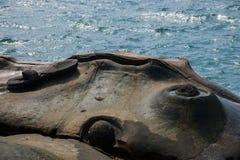 湾里区,新北市,台湾Yehliu Geopark神仙的鞋子,烛台向,接地石头扔石头 库存图片