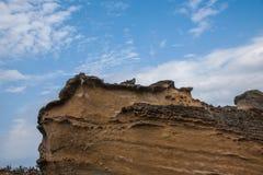 湾里区,新北市,台湾Yehliu Geopark蘑菇型岩石奇怪的岩石风景 免版税库存图片