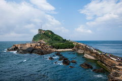 湾里区,新北市,台湾Yehliu Geopark蘑菇型岩石,江仕奇特别风景礁石区域 库存照片