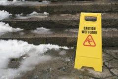 湿地板的警报信号 库存照片