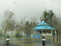 湿天在纳奈莫,不列颠哥伦比亚省,温哥华岛,加拿大 免版税库存照片